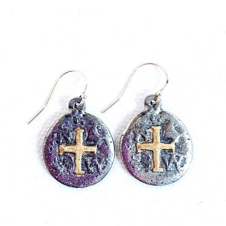 Antique Reproduction Silver Cross Coin Sterling Silver Wire Earrings ...