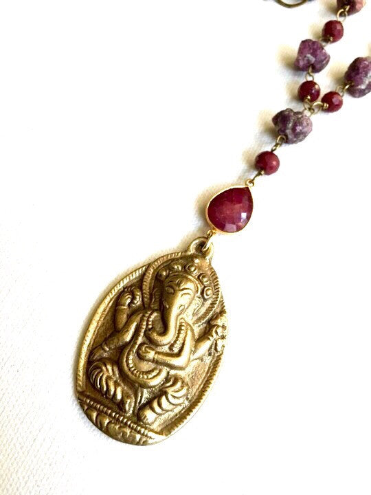 Bohemian luxe brass wrapped ruby necklace with brass ganesh pendant bohemian luxe brass wrapped ruby necklace with brass ganesh pendant mozeypictures Gallery