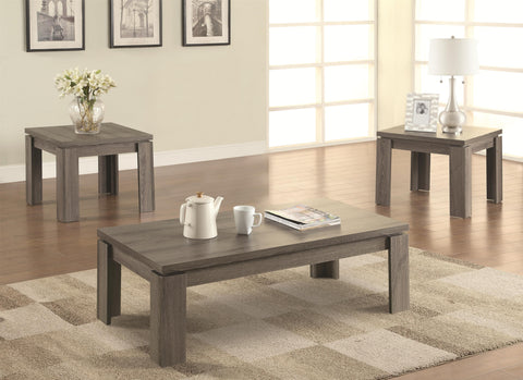 3 Piece Weathered Occasional Table Set. Furniture