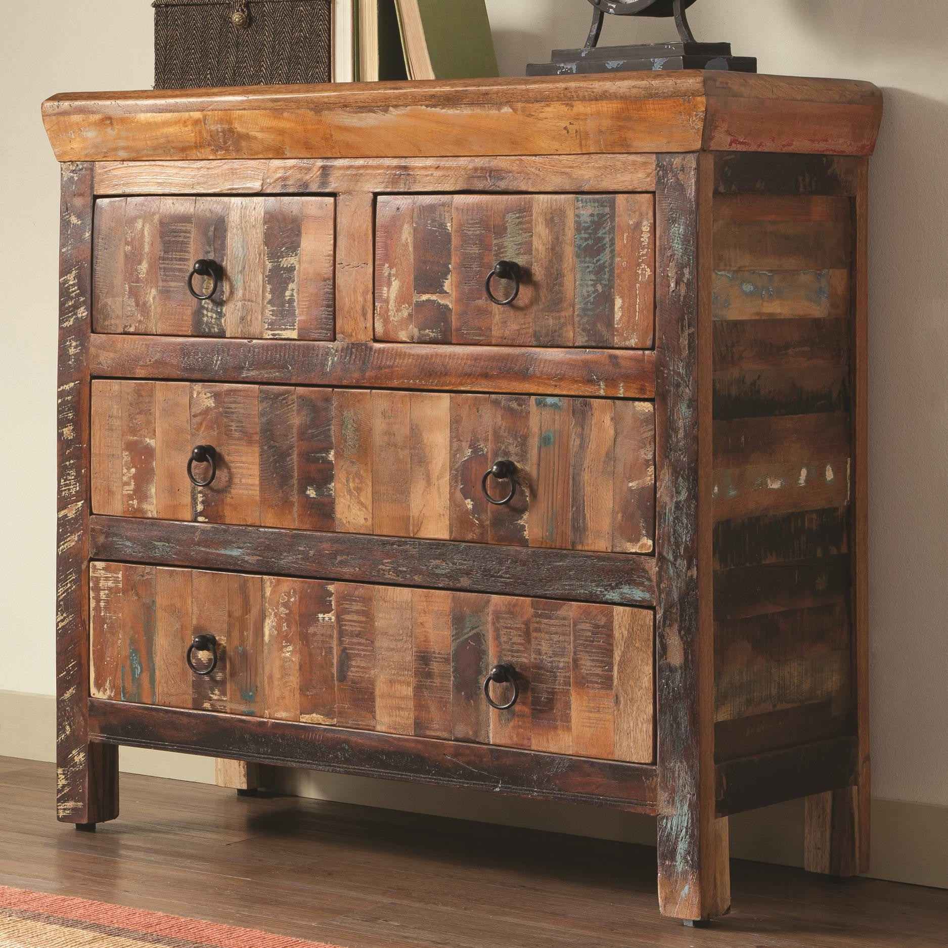 Rustic 4 Drawer Reclaimed Wood Accent Cabinet