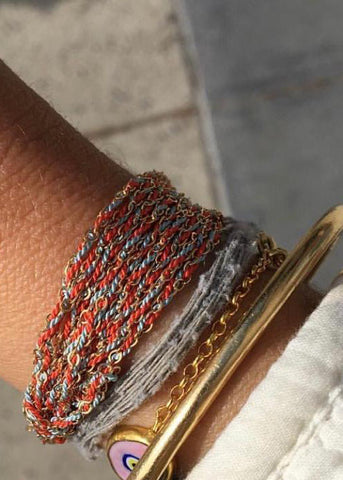 Gold + Silk Colored Woven Intention Bracelet