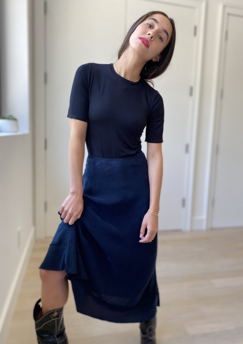 Midi Slip Skirt - Navy Ink - The Frock NYC