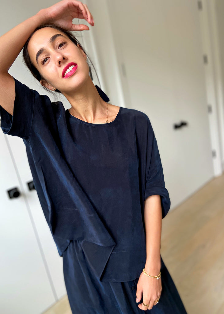 Brooklyn Top Cupro - Navy - The Frock NYC