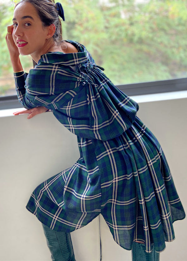 Cinch Dress - Green Plaid - The Frock NYC