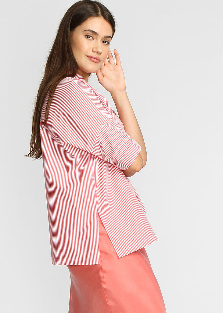 360 Shirt -  Coral Pin Stripe - Last Chance Final Sale - The Frock NYC