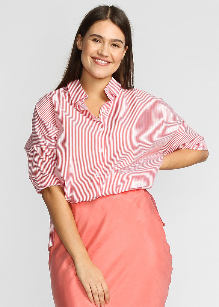 360 Shirt -  Coral Pin Stripe - The Frock NYC