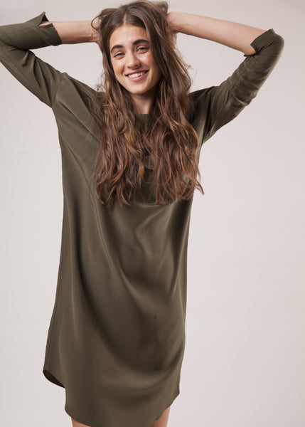 THE SILKY T DRESS - OLIVE -  NEW