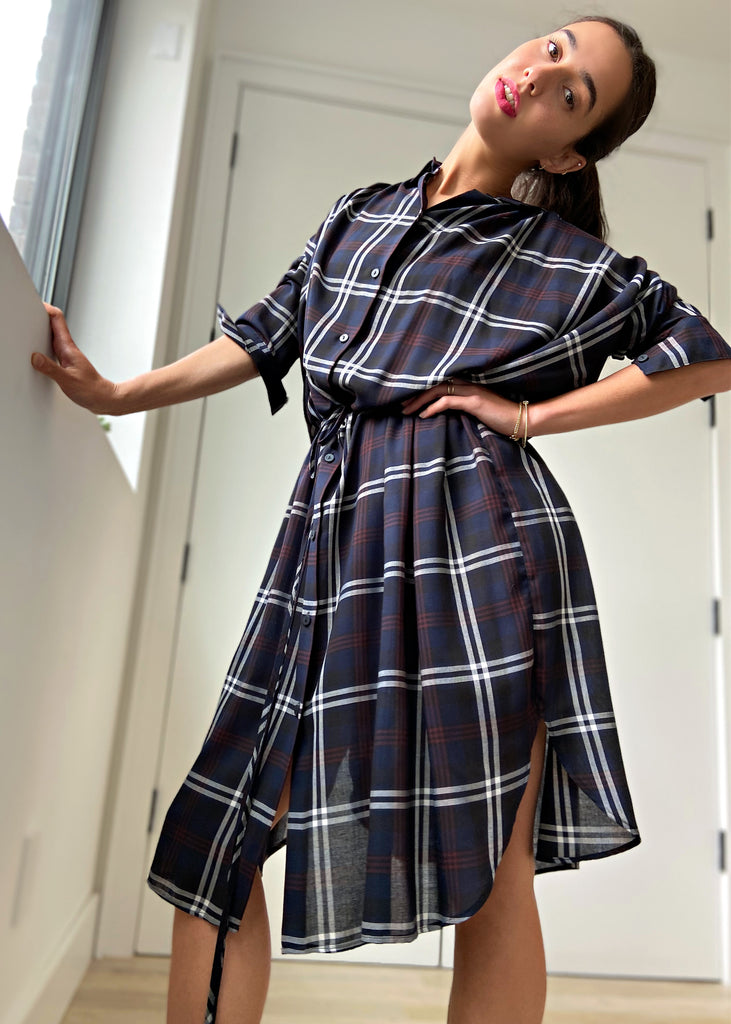 Cinch Dress - Navy Plaid - The Frock NYC