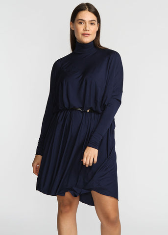 Fluid Turtleneck- Navy