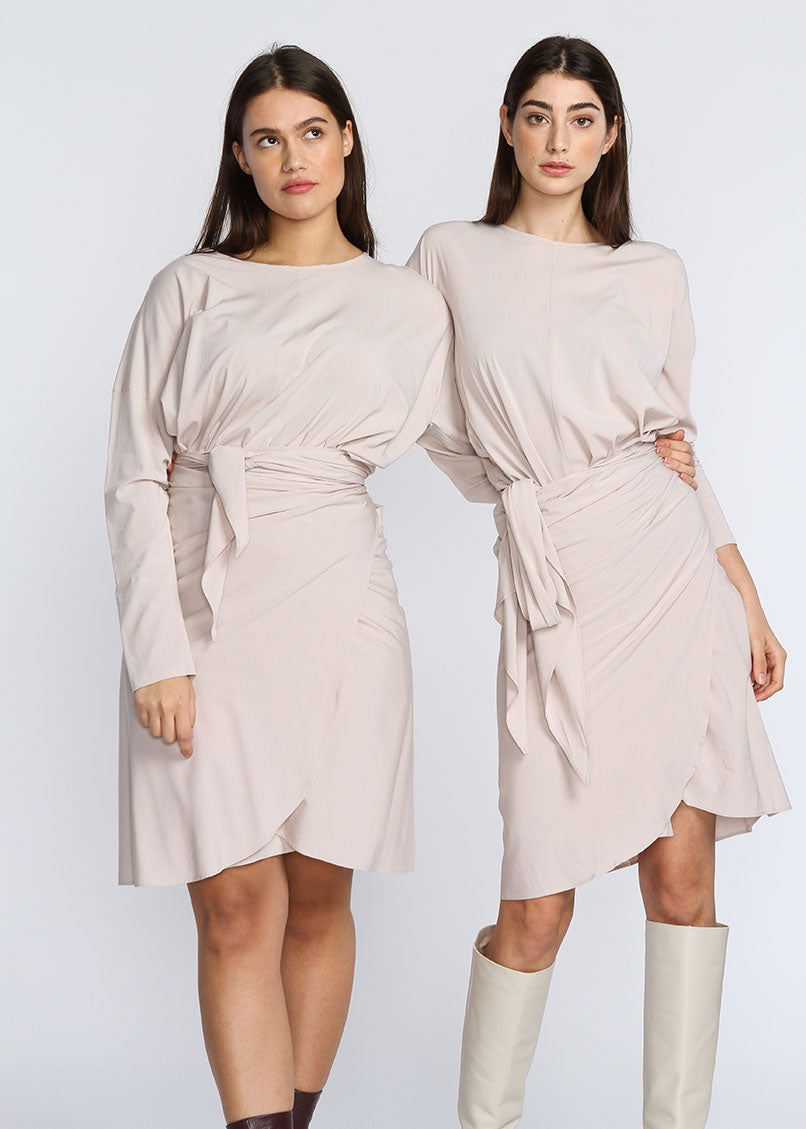 Apron Dress - Long Sleeve - Cream