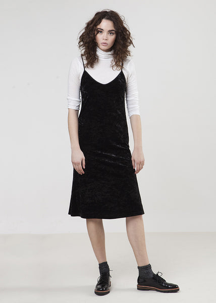 The Frock Slip Dress-Velvet Black-$108