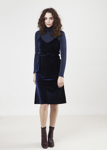 The Frock Slip Dress-Velvet Blue-$108