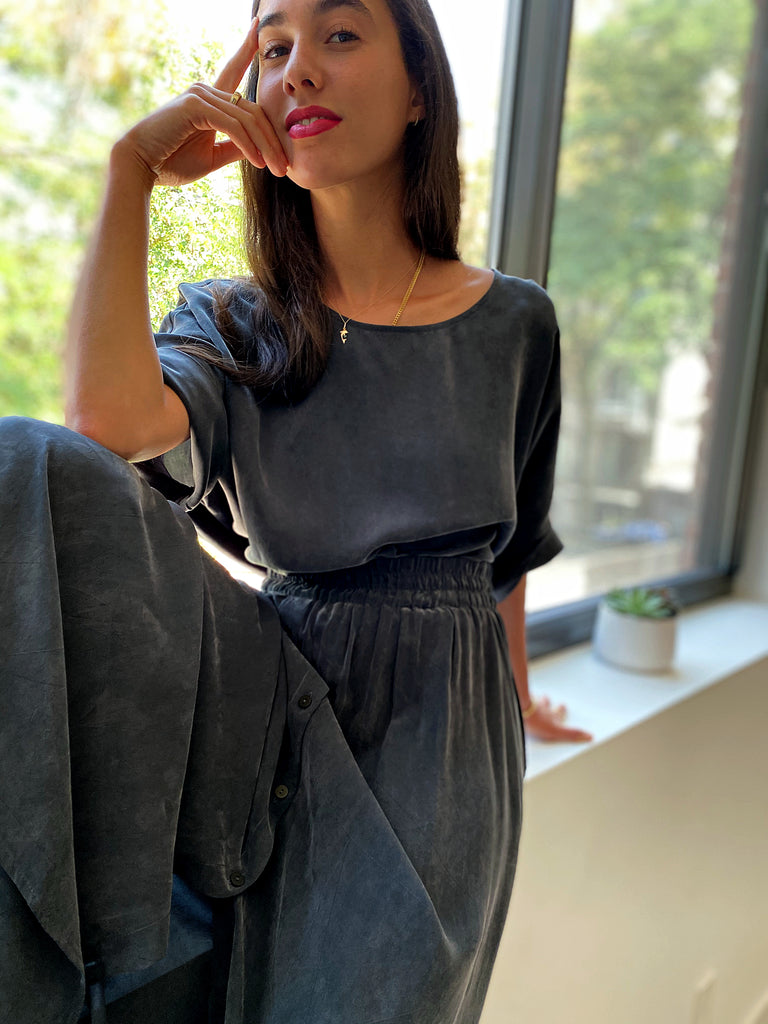 Brooklyn Top Cupro - Slate - The Frock NYC