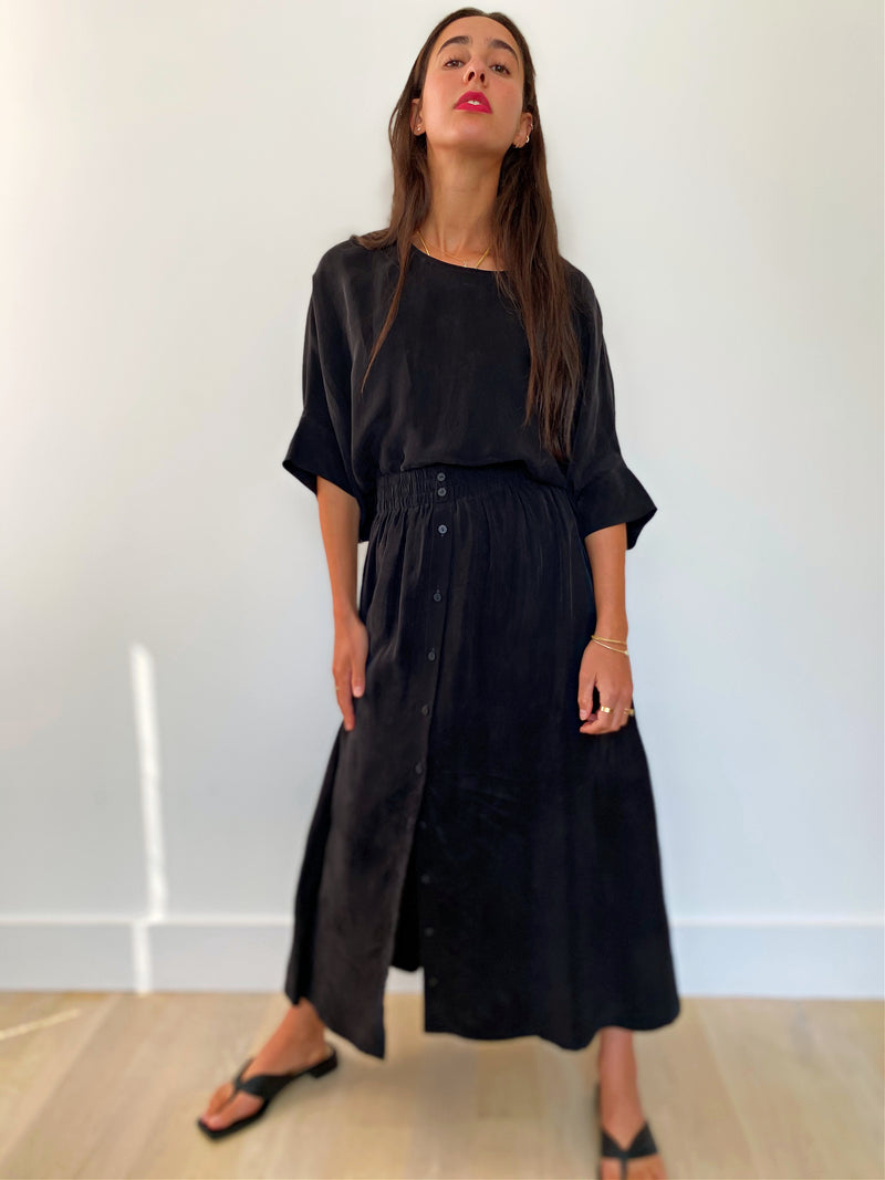 Brooklyn Top Cupro - Black - The Frock NYC