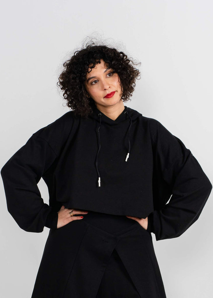 Crop Hoodie- Black - The Frock NYC