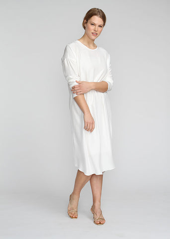 WHITE SILK WORK DRESS