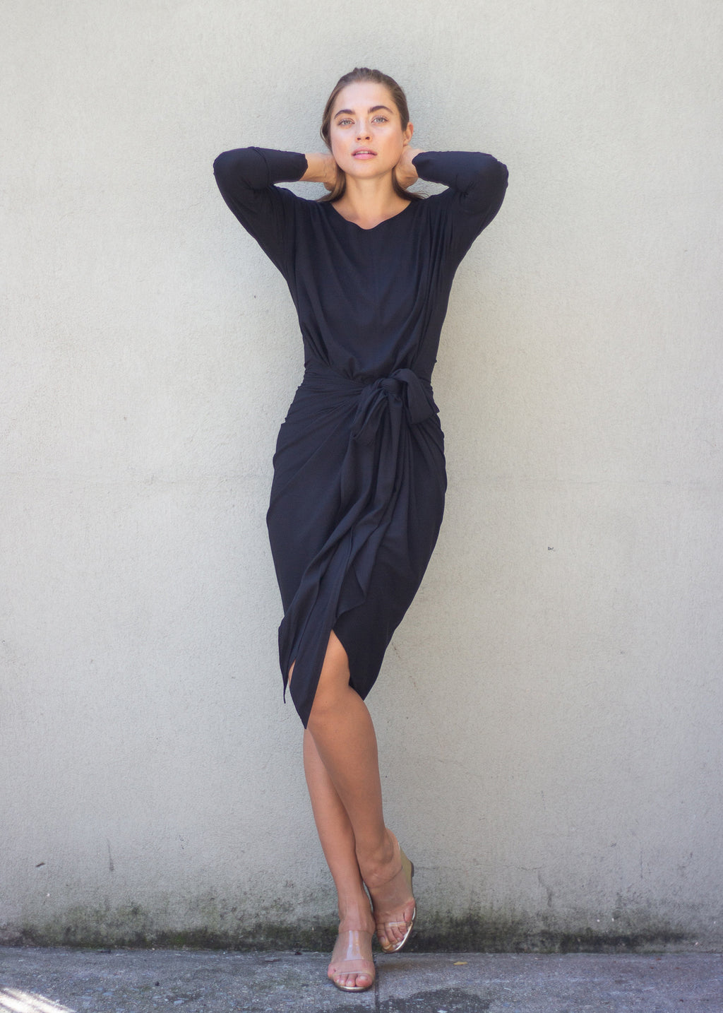 Apron Dress - Long Sleeve - Black