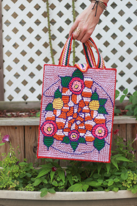 Haitian Handmade Needlepoint Tote - Bouquet