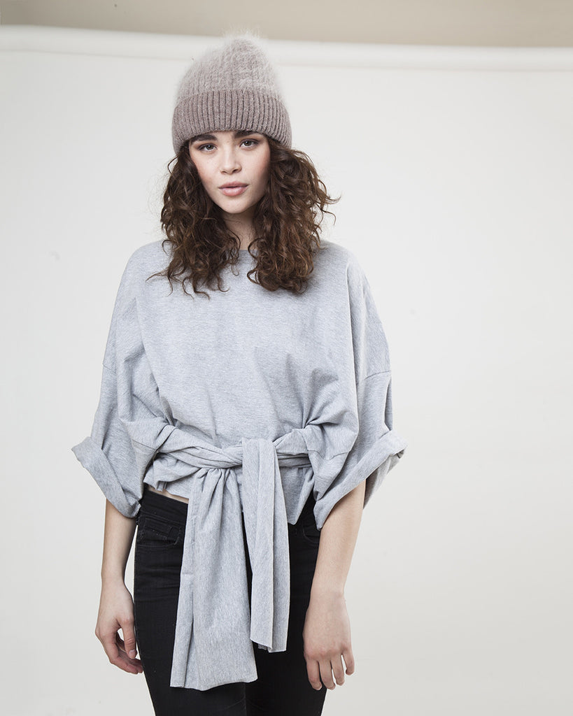 THE FROCK X HANES CUSTOMIZED T - TIE - LONG SLEEVE- GREY