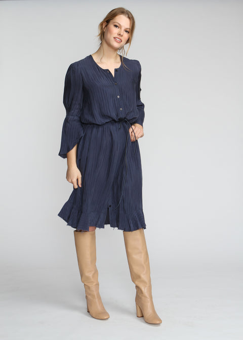 Boheme Cupro Dress - Navy