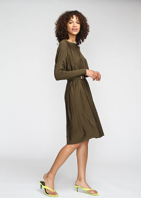 Olive Fluid Mini Dress