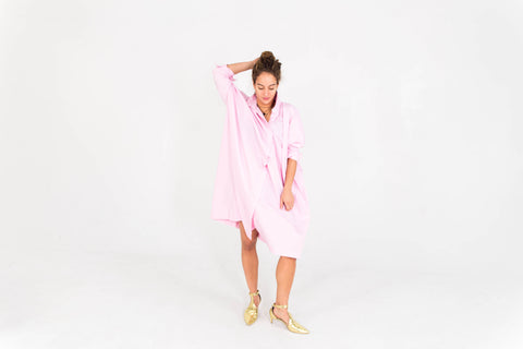 SHIRT DRESS- PINK STRIPE
