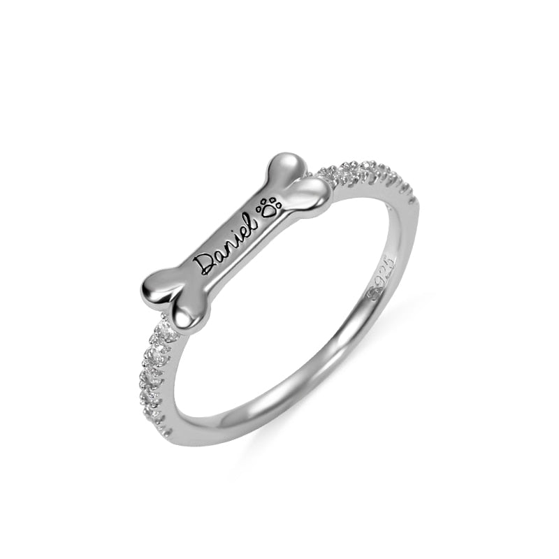 Personalized Bone Shaped Name Ring