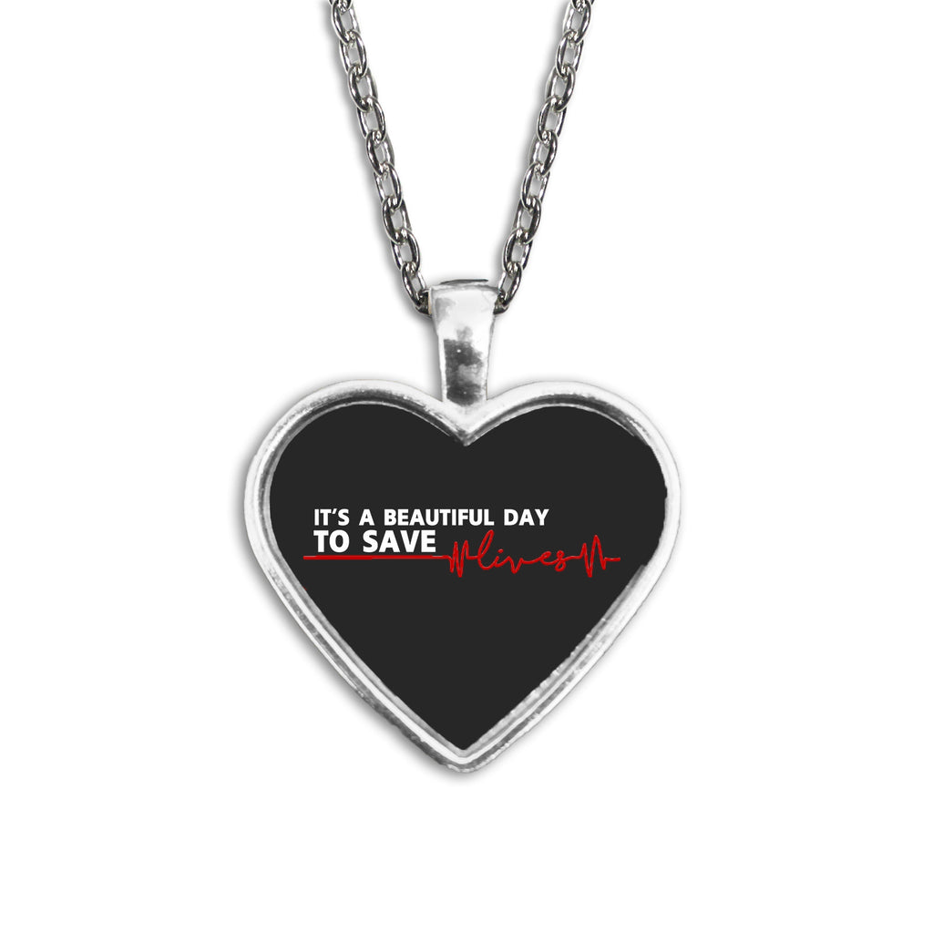 Grey's Anatomy It's A Beautiful Day To Save Lives Heart Necklace