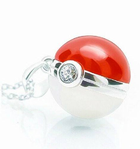925 Sterling Silver Pokemon Pokeball Inspired Necklace - NerdKudo - 1