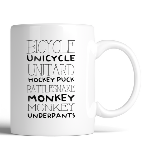 Gilmore Girls Bicycle Unicycle Unitard Hockey Puck Rattlesnack Monkey Monkey Underpants 11oz Mug