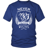 Never Underestimate The Power of A Woman Who Stands For Wolves Shirt - NerdKudo - 1