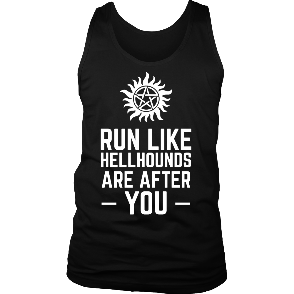 Supernatural Run Like Hellhounds Are After You Shirt Workout Tanks - NerdKudo - 4