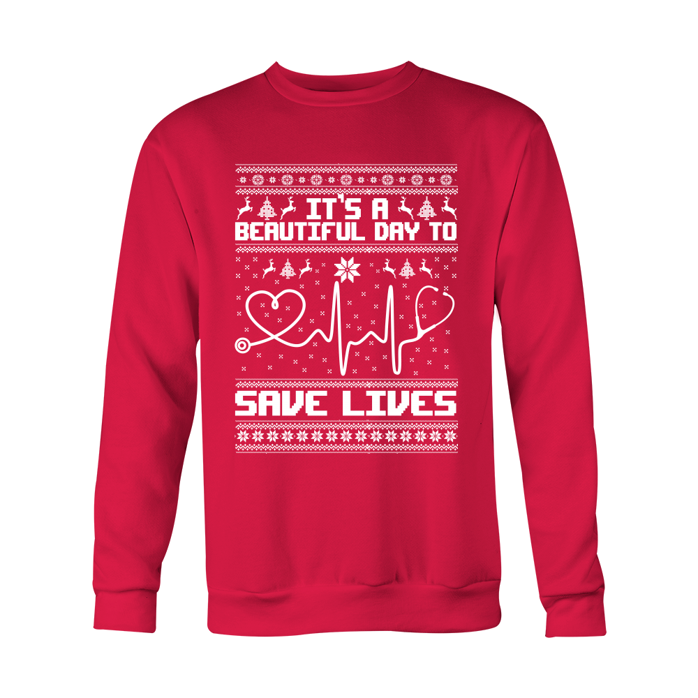 80b910a0 Grey's Anatomy It's A Beautiful Day To Save Lives Ugly Christmas Shirt