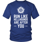 Supernatural Run Like Hellhounds Are After You Shirt Workout Tanks - NerdKudo - 1