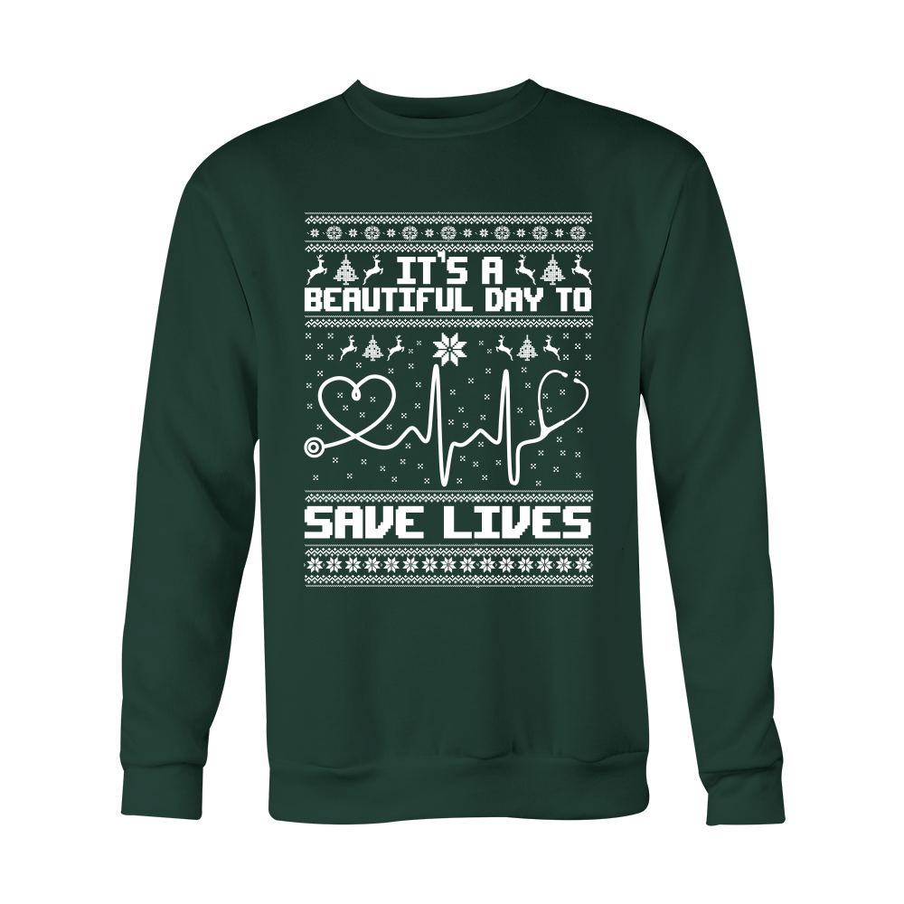 Grey's Anatomy It's A Beautiful Day To Save Lives Ugly Christmas Shirt - NerdKudo - 3