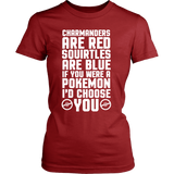Pokemon Charmanders Are Red, Squirtles Are Blue and I'd Choose You Shirt - NerdKudo - 12