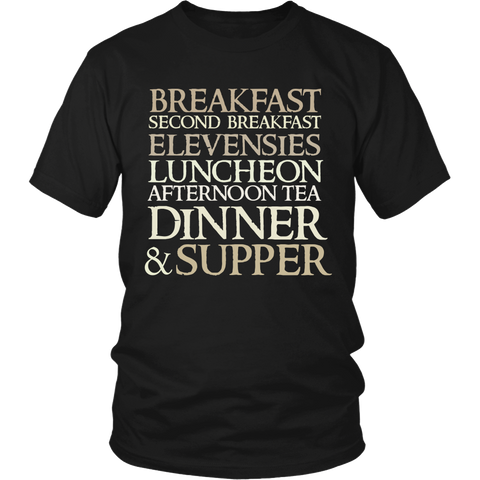 The Lord of The Rings Breakfast Second Breakfast Elevensies Luncheon Afternoon Tea Dinner & Supper Shirt - NerdKudo - 2