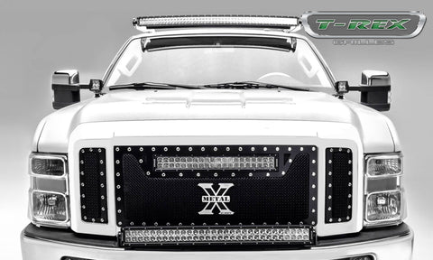 "T-Rex Torch Series 3PC Main Grille W/20"" LED Light Bar - Black W/Chrome Studs 