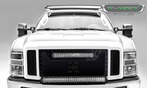 "T-Rex Torch Series 3PC Main Grille W/20"" LED Light Bar - Black W/Black Studs 