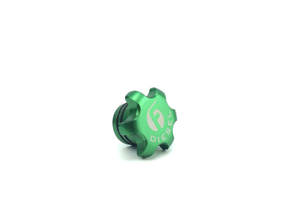 Fleece Performance Anodized Billet Fuel Cap Green | FC-1316-GRN | 2013 - 2017 CUMMINS 6.7L
