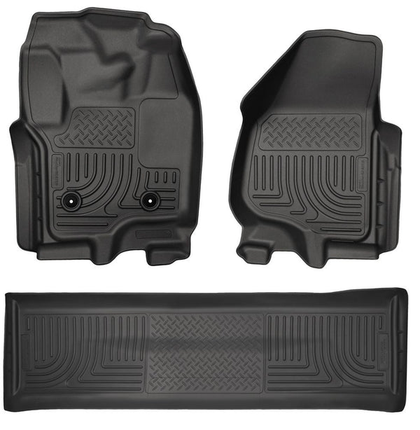Husky Liners WeatherBeater Floor Liners Front & 2ND Seat (Footwell Coverage) 2011-2016 Ford 6.7L Powerstroke