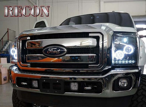 RECON 264272BKCC SMOKED PROJECTOR HEADLIGHTS WITH LED HALOS FOR 11-16 FORD SUPERDUTY