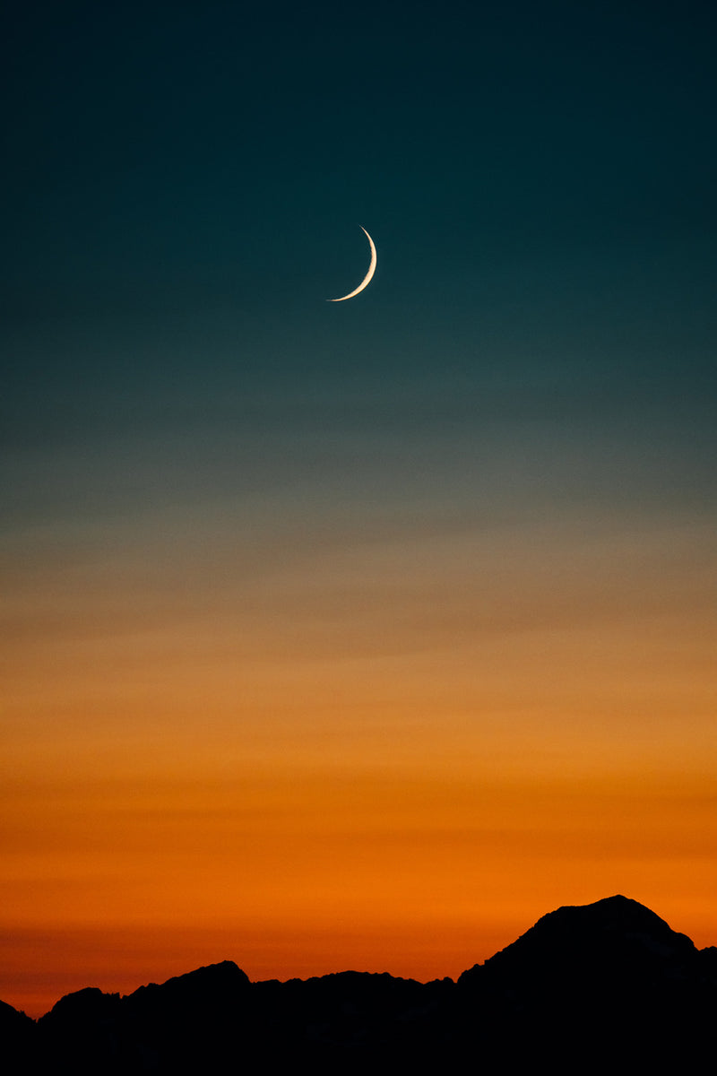 Crescent Moon, Mountain Sunset