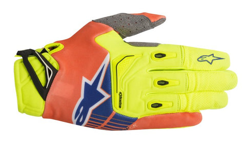 ALPINESTARS 2018 TECHSTAR GLOVE YELLOW FLO/ORANGE FLO/BLUE