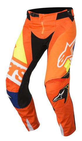 ALPINESTARS 2018 TECHSTAR FACTORY PANTS ORANGE FLO/BLUE/WHITE/YELLOW FLO