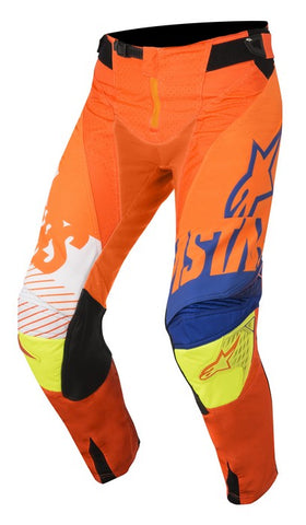 ALPINESTARS 2018 YOUTH RACER SCREAMER PANTS ORANGE FLO/BLUE/WHITE/YELLOW FLO