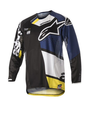 ALPINESTARS 2018 TECHSTAR FACTORY JERSEY BLACK/DARK BLUE/WHITE/YELLOW