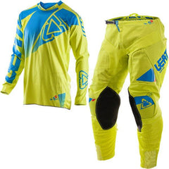 MX Kit Combos - 2017 Leatt GPX 4.5 Lite Motocross Kit Combo In Lime Blue