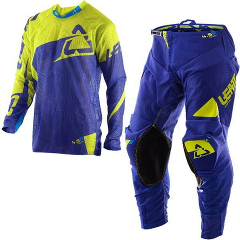 MX Kit Combos - 2017 Leatt GPX 4.5 X-Flow Motocross Kit Combo In Blue Lime