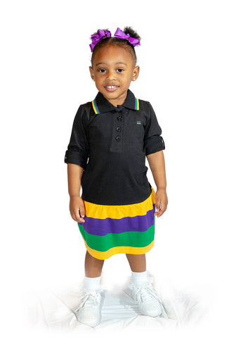 Mardi Gras Little Girls Black Polo Dress - Poree's Embroidery